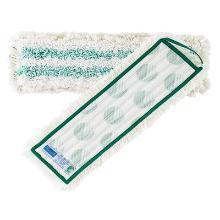 Moppe 40 cm med Velcro Microfiber Hvid/Grøn, med vand container = bærer mere vand. De grønne striber er viscose,de suger op til 3 gange så meget vand, end andre microfiber. product photo