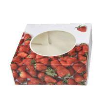 Kageæske 200x200x70 mm med Rude Jordbær design product photo