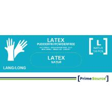 Handske Engangs Prime Source Latex Large Lang uden pudder AQL 1.5 100 stk Natur product photo