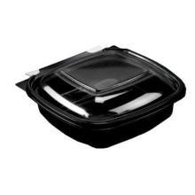 Salatbakke SquarePac 375 ml 130x127x52 mm med Hængslet låg APET Sort product photo
