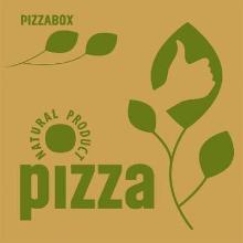 Pizzaæske 320x320x30 mm Brun med logo Natural product photo